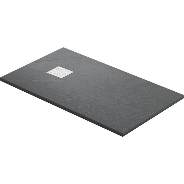 DK Duschwanne Rocky 1200 x 1000 mm anthrazit inkl. Ablaufgitter in Edelstahl matt