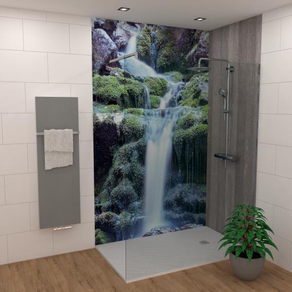 DK Rückwand Flat E Mag. Wasserfall matt 2550x1000x3mm Dekor: einseitig