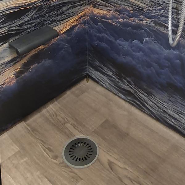 Duschking Bodenablauf für Vinylböden, Sichtteil Edelstahl gebürstet
