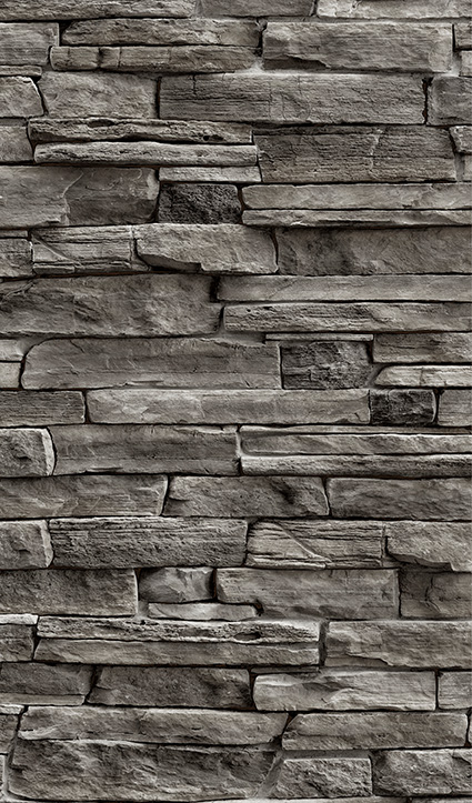 Dekor Natursteinwand dunkel (Flat E)