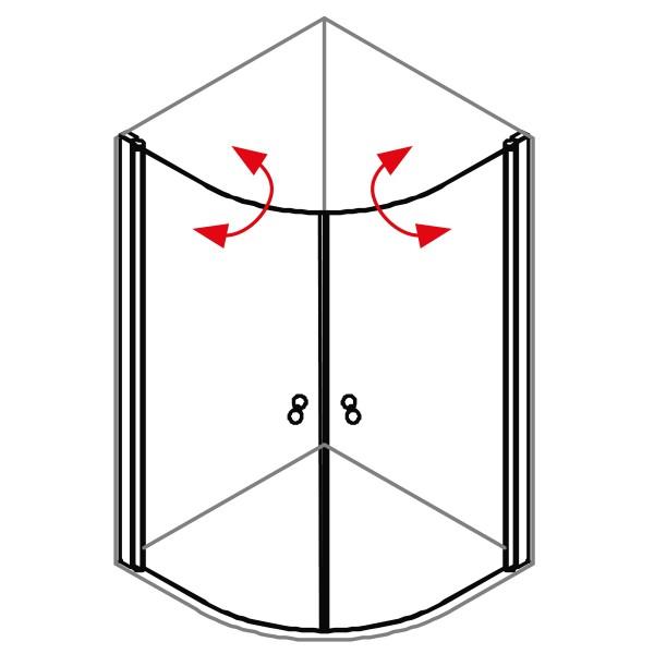 DK Duschabtrennung King 4, Viertelkreis mit Doppelpendeltür, B90 H200, silber matt