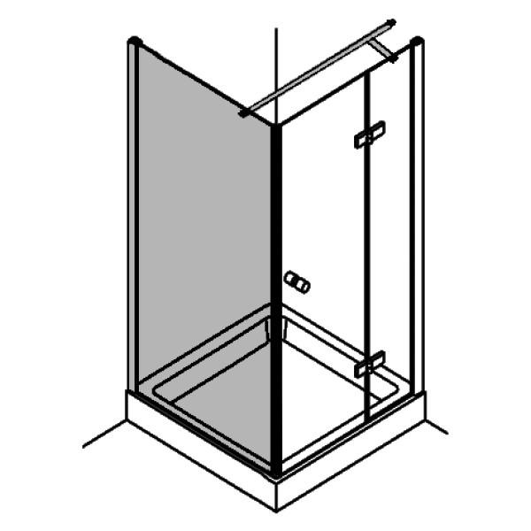 DK Duschabtrennung King 1, Seitenwand f. Drehtüren mit 1 Fixteil, Sondermaß B20-160 H bis 200 chro