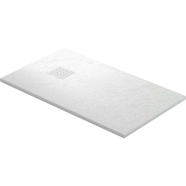 DK Duschwanne Rocky 2100 x 1000 mm weiss | inkl. Ablaufgitter in Edelstahl matt