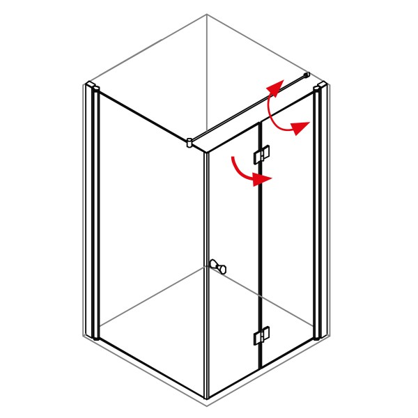 DK Duschabtrennung King 4, 2tlg. Drehfalttür mit Seitenwand rechts, B bis 140 H200, silber matt