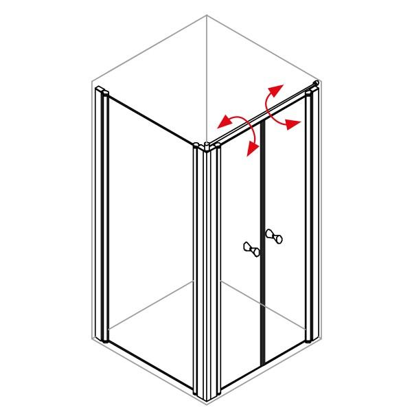 DK Duschabtrennung King 4, Doppelpendeltür mit Seitenwand rechts, B bis 120 H200, silber matt