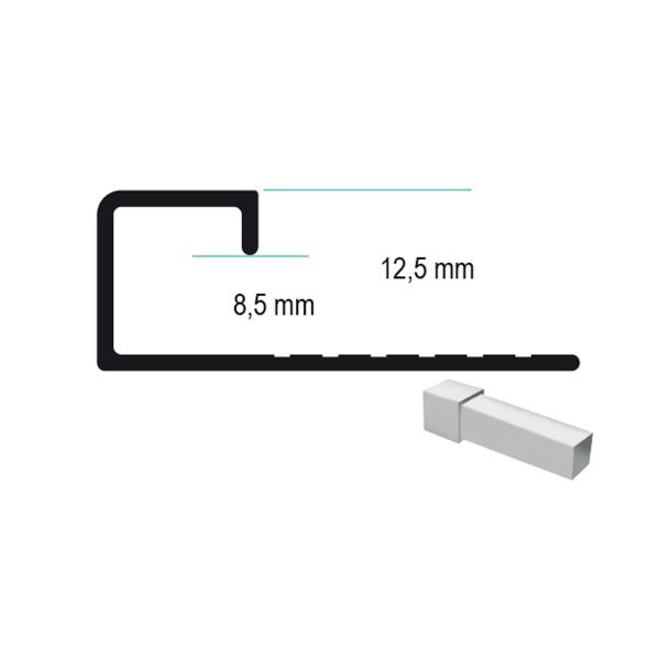 Universal Aluminium Abschlussprofil für 8,5 - 12,5 mm Plattenstärke