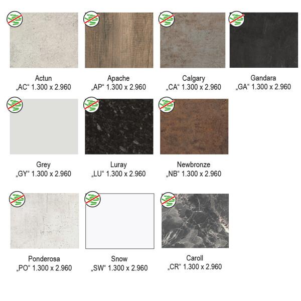 DK Rückwand Flat C | Oberflächen Slate - Glanz - Perl | Dekor beidseitig | Antibakteriell