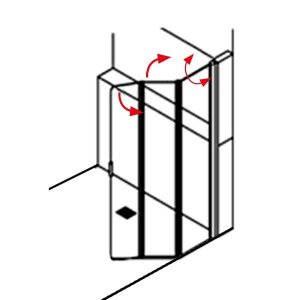 DK Duschabtrennung King 5, 3-tlg, Drehfalttür als Walk-In, rechts, B bis 120 H200, chrom