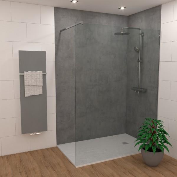 DK Rückwand Flat S beton grau Perl | 3050x1320x3mm, Dekor: beidseitig | Antibakterielle Oberfläche