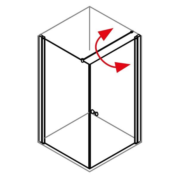 DK Duschabtrennung King 4, Pendeltür m. Seitenwand rechts, B bis 100 H200, silber matt
