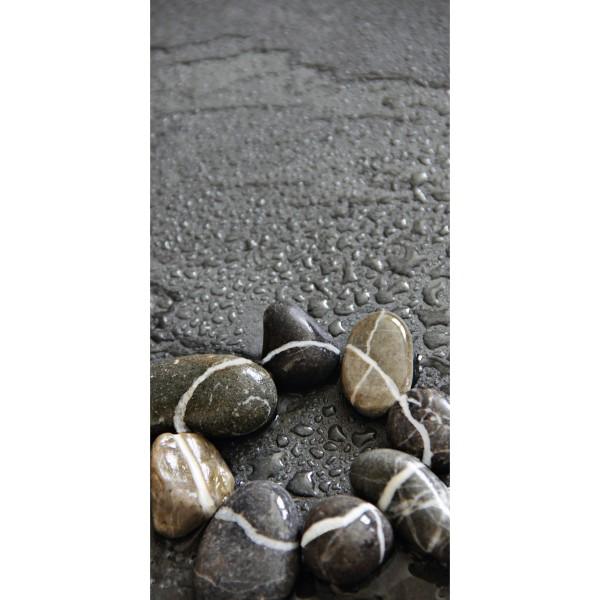 DK Rückwand Flat M in glanz oder matt | Steine im Regen | Antibakterielle Oberfläche