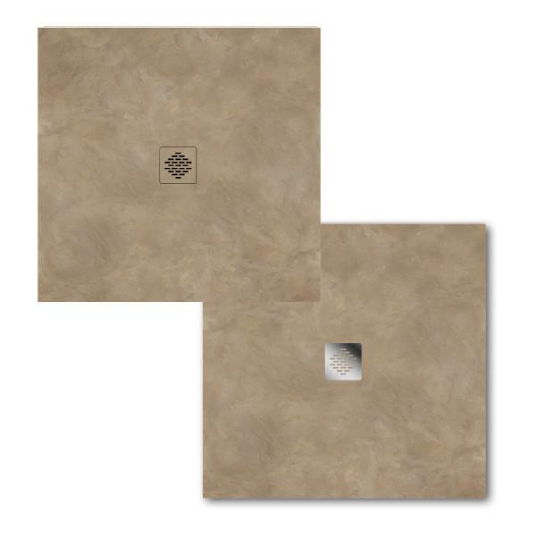 Ablaufrost für 90er Punktablauf | Edelstahl oder Flat Dekor | 120 x 120 mm