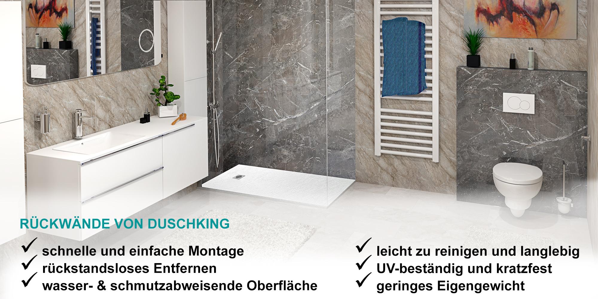 Sagen Sie Schimmel und Verfärbungen Ade: hochwertige Duschrückwände für eine Dusche ohne Fliesen