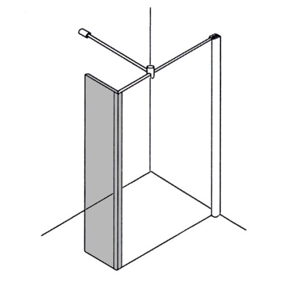 DK Duschabtrennung Walk-In, Erw. Spritzschutz B20-70 H bis 220, Klarglas 8 mm