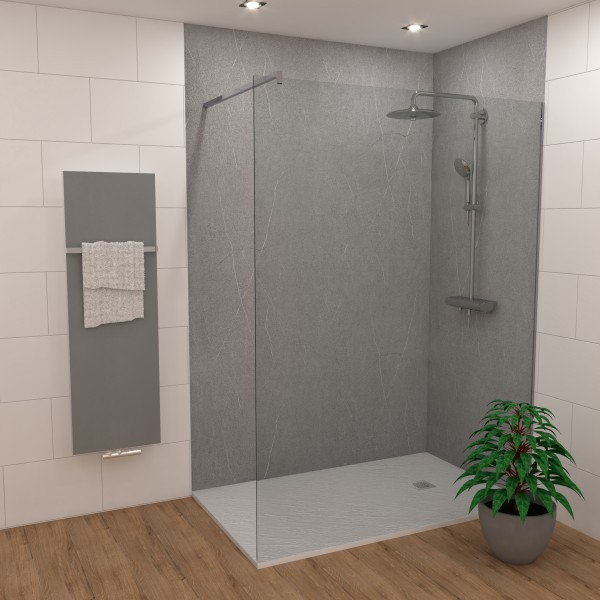 DK Rückwand Flat S Granit silbergrau matt 3050x1320x3mm, Dekor: beidseitig
