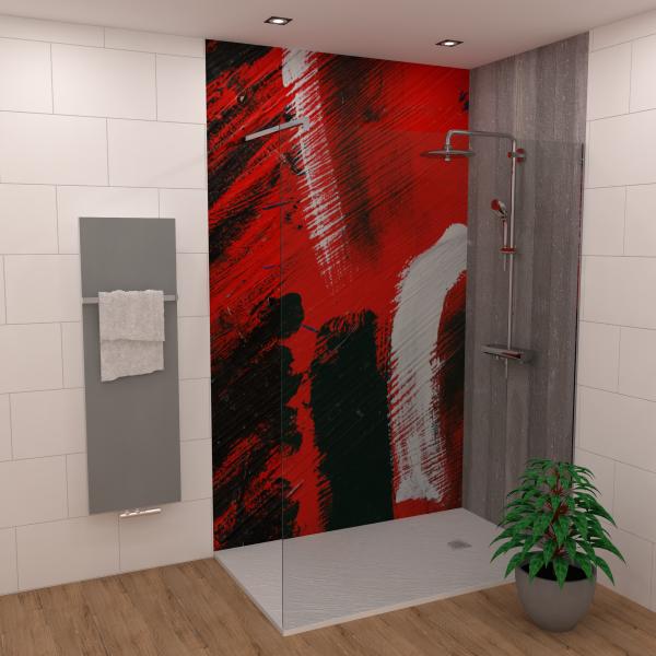 DK Rückwand Flat E Abstrakt rot matt 2550x1500x3mm Dekor: einseitig