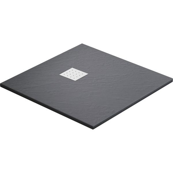 DK Duschwanne Rocky 900 x 800 mm anthrazit inkl. Ablaufgitter in Edelstahl matt