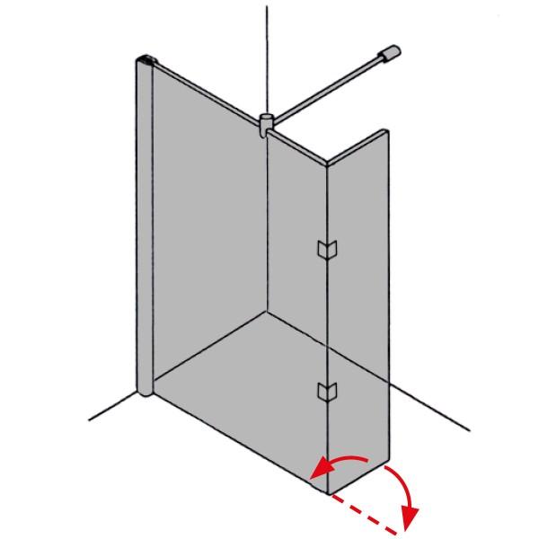 DK Duschabtrennung Walk-In, 180° Pendeltür als Spritzschutz, B20-160, H220, Anschlag re,Klarglas