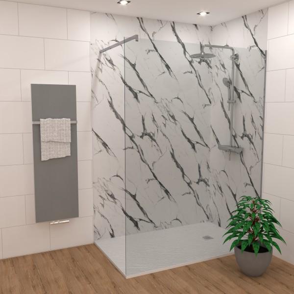 DK Rückwand Flat S Marmor weiss-schwarz matt | 2800x1300x3mm, Dekor: beidseitig