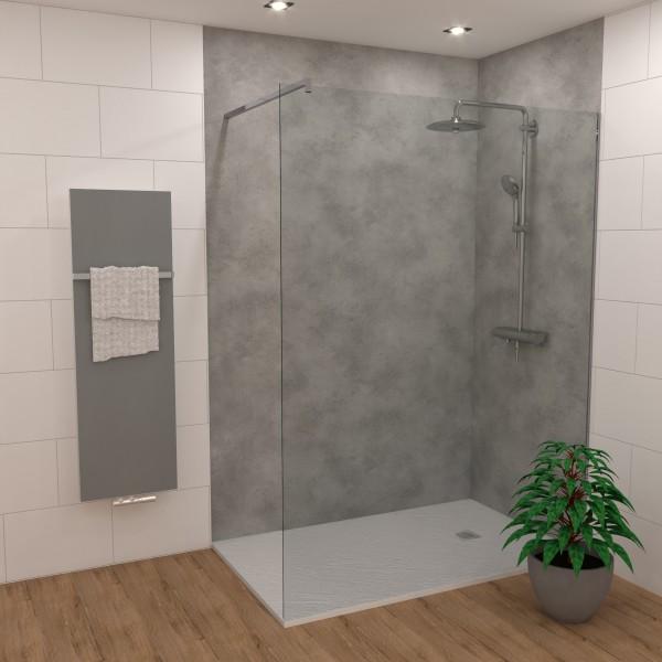 DK Rückwand Flat S grauer Stein matt 3050x1320x3mm, Dekor: beidseitig