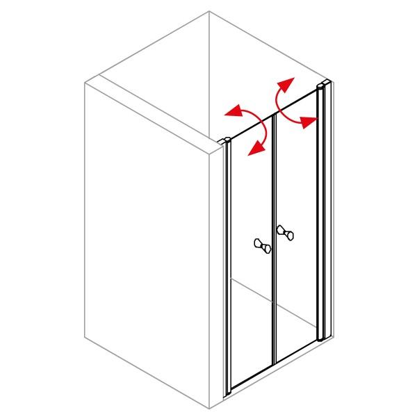 DK Duschabtrennung King 4, Doppelpendeltür für Nische, B bis 140 H200, silber matt