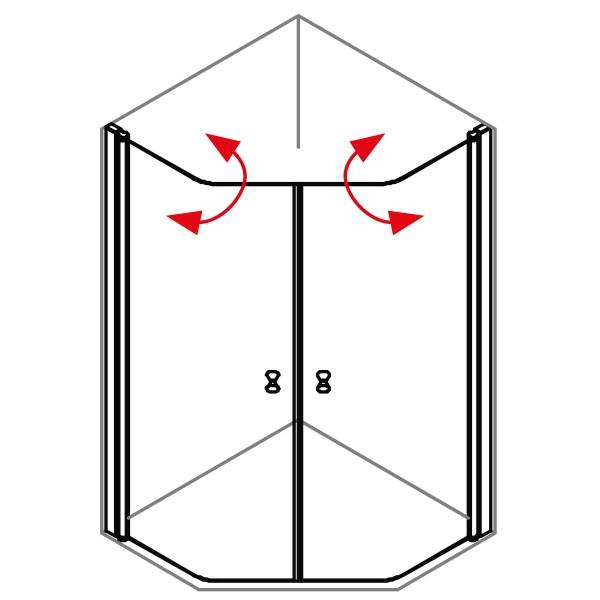 DK Duschabtrennung King 4, Fünf-Eck mit Doppelpendeltür, B90 H200, chromeffekt