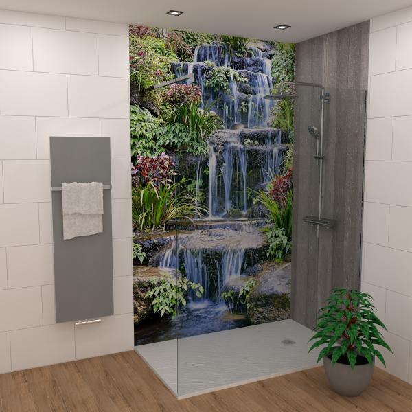 DK Rückwand Flat E Tropen Wasserfall matt 2100x900x3mm Dekor: einseitig