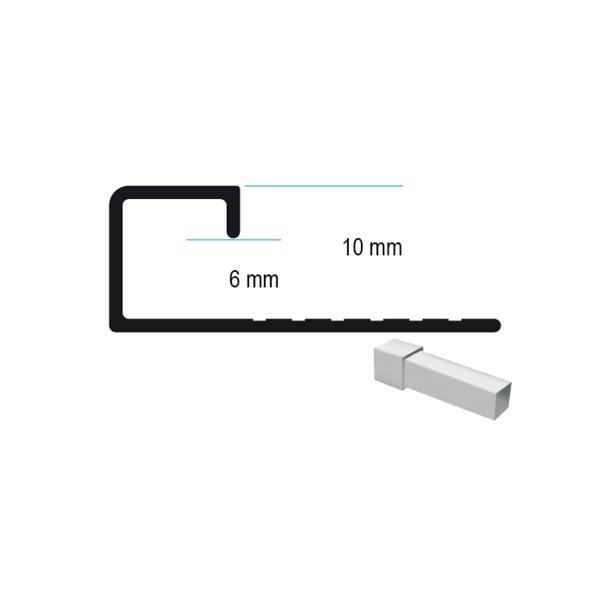 Universal Aluminium Abschlussprofil für 6 - 10 mm Plattenstärke