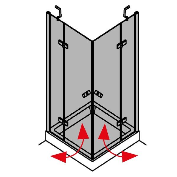 DK Duschabtrennung King 2, Eckeinstieg 2 Fixteile, B90x75 H200 chrom