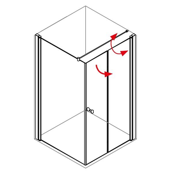 DK Duschabtrennung King 5, 2tlg. Drehfalttür mit Seitenwand rechts, B bis 140 H200, silber matt