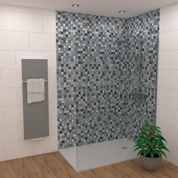 DK Rückwand Flat E Mosaik blau matt | Dekor: einseitig