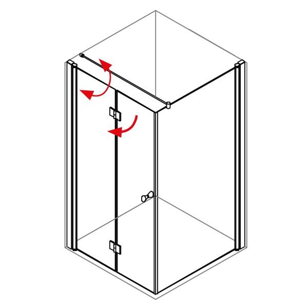 DK Duschabtrennung King 4, 2tlg. Drehfalttür mit Seitenwand links, B bis 140 H200, chromeffekt