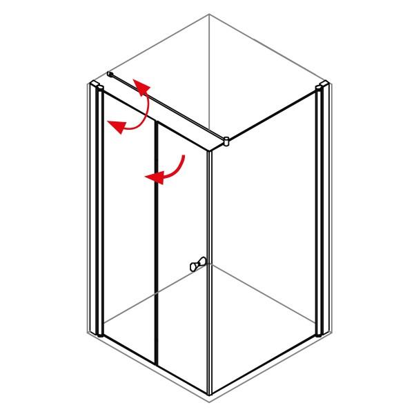 DK Duschabtrennung King 5, 2tlg. Drehfalttür mit Seitenwand links, B bis 120 H200, chrom