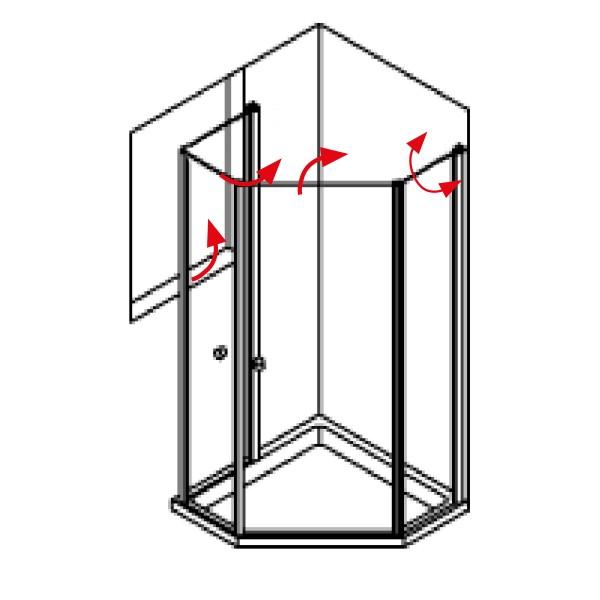 DK Duschabtrennung King 5, Fensterlösung, 2 Drehfalttüren 135° -90° , r., B 120 H200, silber