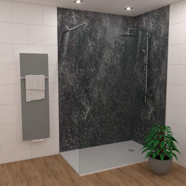 Duschking Rückwand Proline marmoriert schwarz weiß