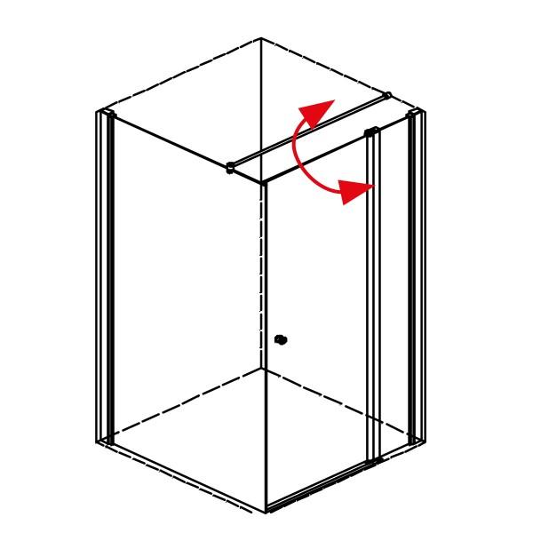 DK Duschabtrennung King 4, Pendeltür an Fixteil m. Seitenwand rechts, B bis 100 H200, chromeffekt