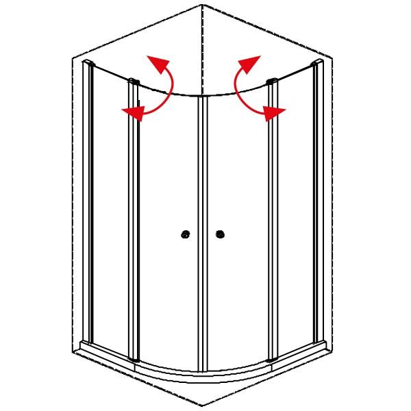 DK Duschabtrennung King 4, Viertelkreis mit 2-tlg. D.-pendeltür an FT, B bis 80x80 H200, chromeffe