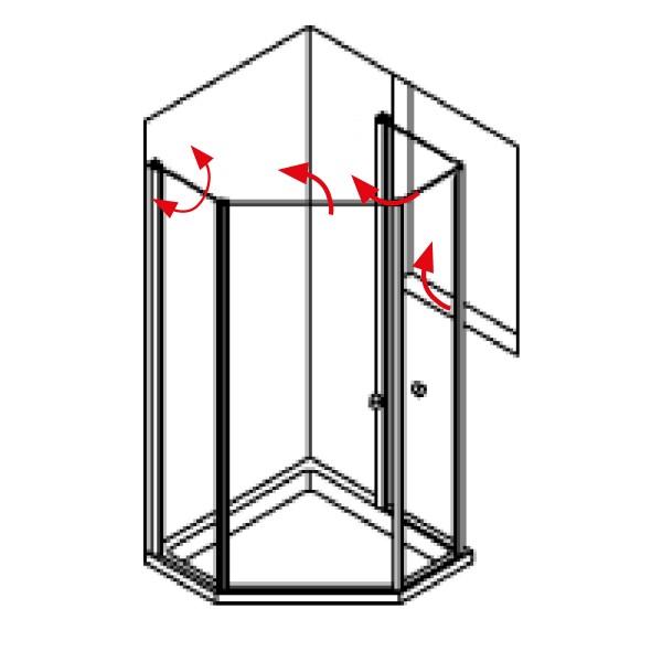 DK Duschabtrennung King 5, Fensterlösung, 2Drehfalttüren 135° -90° ,links,B bis 120 H200,chrom