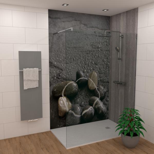 DK Rückwand Flat E Steine im Regen matt 2100x900x3mm Dekor: einseitig