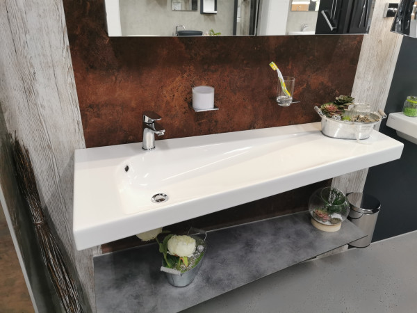 HATRIA GRANDANGOLO 130cm rechte Ausführung | Wand- und Möbelwaschtisch