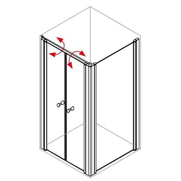 DK Duschabtrennung King 4, Doppelpendeltür mit Seitenwand links, B bis 120 H200, silber matt