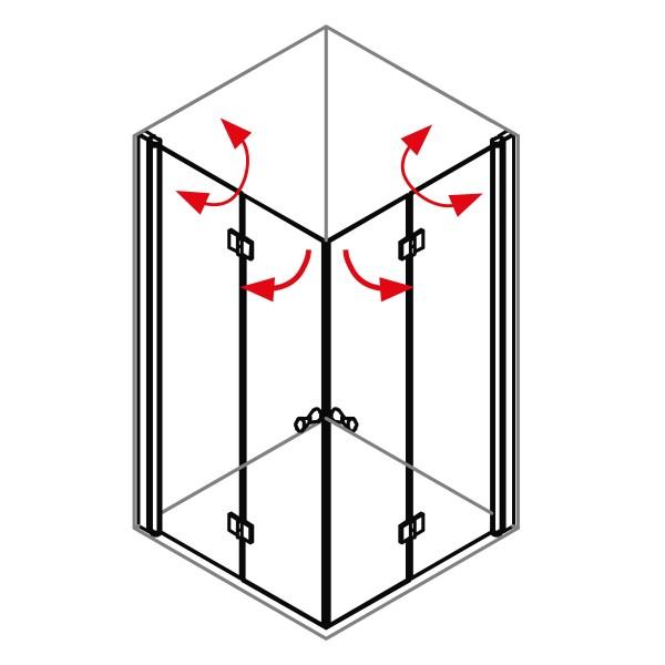 DK Duschabtrennung King 4, Eckkomb. mit 2tlg. Drehfalttür, B bis 100x100 H200, chromeffekt